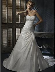 A-line Wedding Dress Chapel Train / Floor-length Sweetheart Satin Chiffon with