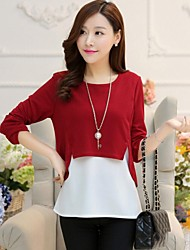 Women's Red/Black/Green Blouse Long Sleeve