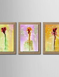 Oil Painting Modern Abstract Flower Set of 3 Hand Painted Natural linen with Stretched Frame