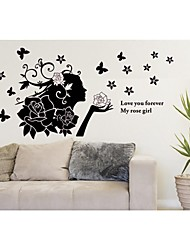 Wall Stickers Wall Decals, Style Rose Girl PVC Wall Stickers