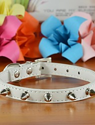 Plain PU Leather One Row Spikes Collar for Dogs and Pets (assorted colors,size)