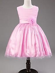 A-line Princess Tea-length Flower Girl Dress - Satin Tulle Scoop with Bow(s) Flower(s) Sash / Ribbon Pleats