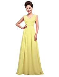 Floor-length Chiffon Bridesmaid Dress - A-line V-neck with