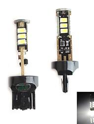 hj 7440 5W 450lm 5500-6000K 15x2835 SMD LED branco lâmpada de luz de freio de estacionamento (12-24V, 2 peça)