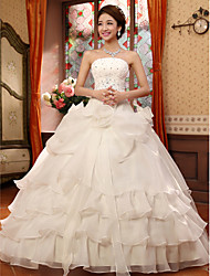 Ball Gown Strapless Floor Length Organza Wedding Dress with Beading Appliques Flower