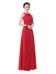 Floor-length Bridesmaid Dress - Ruby / Royal Blue Sheath/Column High Neck