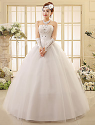 Ball Gown Wedding Dress Floor-length Strapless Tulle with Beading / Appliques
