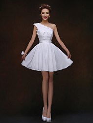 Short/Mini Bridesmaid Dress - White A-line / Princess One Shoulder