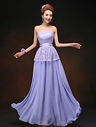 Sheath/Column Strapless Floor-length Bridesmaid Dress