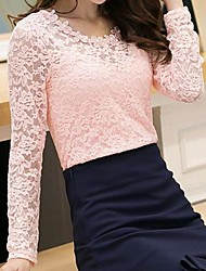 Women's Round Collar Lace Cut Out T-shirt(More Colors)