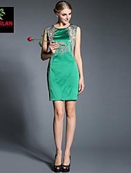 Women's Bodycon / Print Dress Above Knee Satin