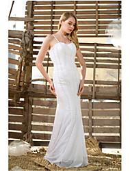 trompete / vestido de noiva do assoalho-comprimento de cetim sereia -straps