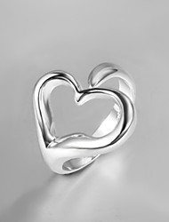 2016 New Adjustable Simple Creative Heart Sterling Silver Band Ring For Women