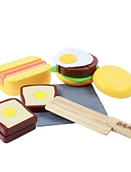 BENHO Rubber Wood Western Food Set Wooden Role Playing Toy