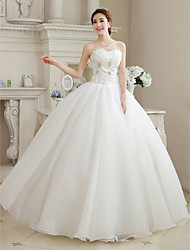 Ball Gown Wedding Dress Vintage Inspired Floor-length Sweetheart Organza with Beading Flower