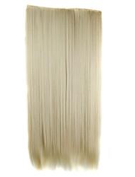 24 pouces 120g pièce de cheveux synthétiques long clip directement dans les extensions de cheveux avec 5 clips