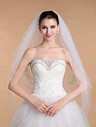 Wedding Veils Women's Elegant Tulle Rhinestone Two-tier Beaded Edge Veils