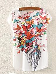 Damen Druck T-shirt,Rundhalsausschnitt Frühling / Sommer / Herbst Kurzarm Weiß Dünn