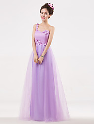 Floor-length Bridesmaid Dress - Lilac A-line One Shoulder