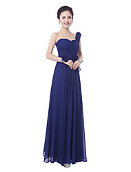 Floor-length Bridesmaid Dress Sheath / Column One Shoulder / Straps with