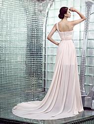 Formal Evening Dress - Champagne Plus Sizes / Petite Sheath/Column One Shoulder Chapel Train Chiffon