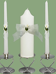 Eternity Wedding Unity Candles With Lace Bow