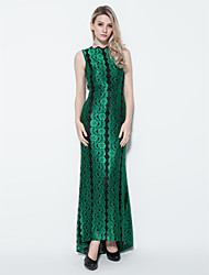 TS Couture Formal Evening Dress - Sexy Sheath / Column Jewel Floor-length Lace with Beading Pleats