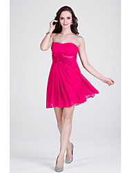 Short/Mini Chiffon Bridesmaid Dress - Fuchsia / Ruby / Burgundy / Silver / Black / Pool / Royal Blue / Grape Sheath/Column Strapless