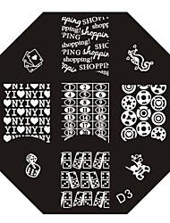 nail art estampage l'image timbre plaque modèle série d no.3