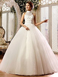 Ball Gown Floor-length Wedding Dress -High Neck Lace