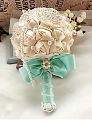 Wedding Bridal Handmade Champagne Romantic Rose Bouquet With Crystal Imitation Pearl