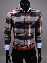 Men's European Style Long Sleeved Plaid Shirt