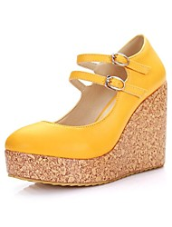 Women's Spring / Summer / Fall Wedges / Round Toe Leatherette Casual Wedge Heel Buckle Yellow / Green / Red / White / Orange