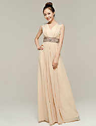 Formal Evening Dress - Ruby/Champagne A-line V-neck Floor-length Nylon Taffeta