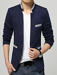 Men's Long Sleeve Regular Blazer , Cotton/Cotton Blend Pure