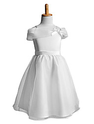 A-line Knee-length Flower Girl Dress Sleeveless Straps with Bow(s)