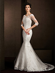 LAN TING BRIDE Trumpet / Mermaid Wedding Dress See-Through Court Train Scoop Lace with Appliques