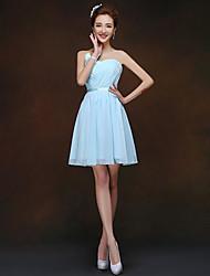 Short/Mini Bridesmaid Dress - Sky Blue Sheath/Column Sweetheart