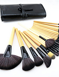 24 Makeup Brushes Set Goat Hair / Pony / Synthetic Hair / Horse Professional / Full Coverage / Eco-friendly / Portable / Travel WoodFace
