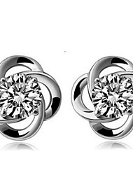 Sterling Silver Clover  Inlaid CZ Earrings