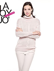 haoduoyi® Women's Loose Rib Hem High Neck Long Sleeve Chic Cable-Knit Sweater