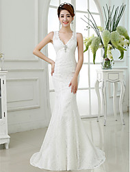 Trumpet/Mermaid V-neck Lace Floor-length Wedding Dress