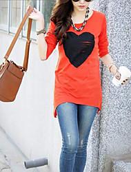 Frauen Used-Look Herz langes T-Shirt