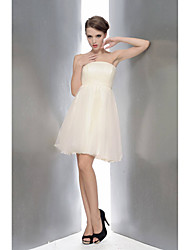 Knee-length Strapless Bridesmaid Dress - Short Sleeveless Chiffon Lace