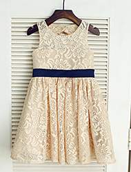 A-line Tea-length Flower Girl Dress Jewel with Bow(s)