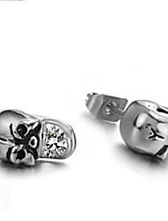 Women's Titanium Steel Diamond Skull Earrings