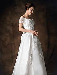 A-line Wedding Dress - White Court Train Square Lace