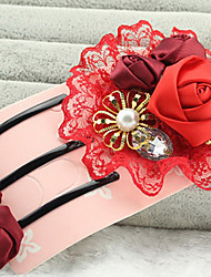 The bride red hair headdress flower hairpin.