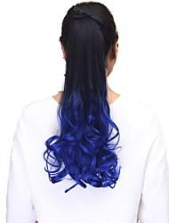 alta qualidade pedaço de cabelo sintético de 20 polegadas clipe de onda longa em fita rabo de cavalo
