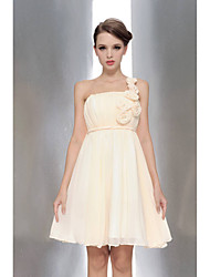 Knee-length Chiffon Bridesmaid Dress A-line One Shoulder / Strapless with